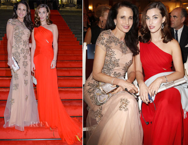 Andie MacDowell & Rainey Qualley In Lorena Sarbu - Prix Montblanc 2013
