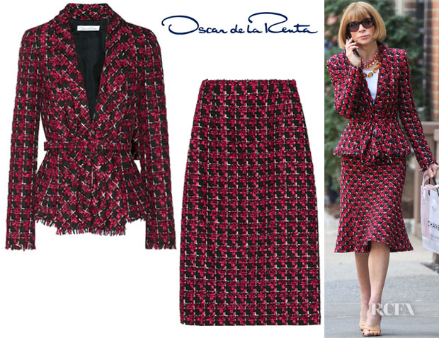 Anna-Wintours-Oscar-de-la-Renta-Checked-Tweed-Jacket& skirt