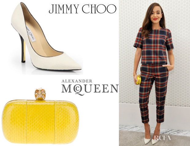 Ashley Madekwe's Jimmy Choo Pony Hair Pumps And Alexander McQueen Python Skin Box Clutch
