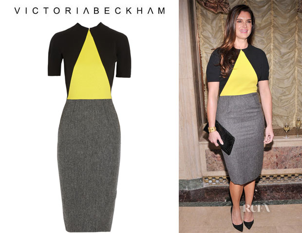 Brooke Shields' Victoria Beckham Crepe And Wool-Tweed Dress
