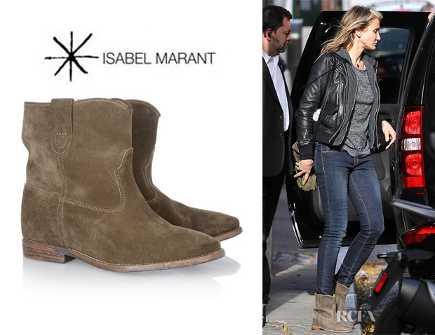 Cameron Diaz' Isabel Marant 'Crisi' Leather Concealed Wedge Biker Boots