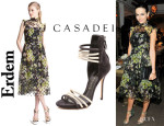 Camilla Belle's Erdem 'Clarity' Floral Print Dress And Casadei Suede Multi Strap Sandals