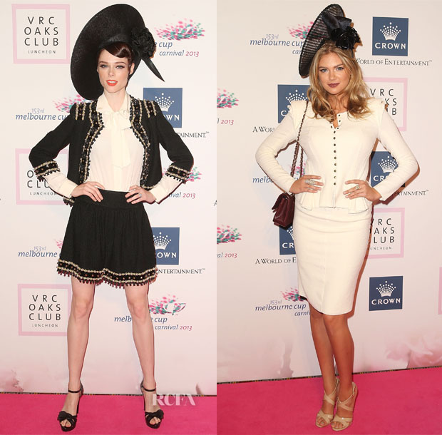 Coco Rocha In Moschino & Kate Upton In Nina Ricci - VRC Oaks Club Luncheon