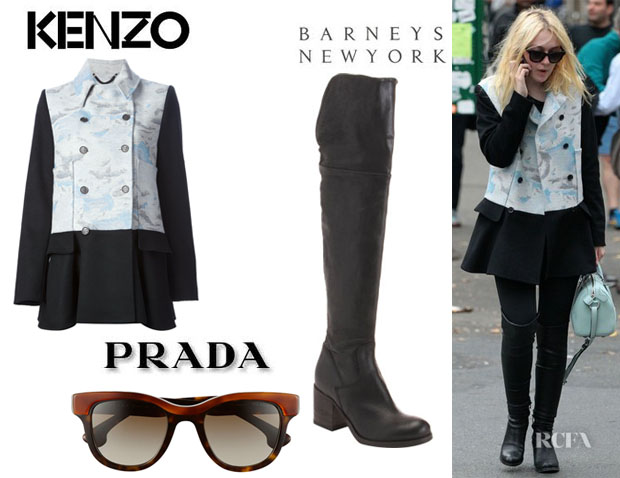 Dakota Fanning's Kenzo 'Day Clouds' Peacoat, Barneys New York 'Brandy' Boots And Prada 'Crow' Sunglasses