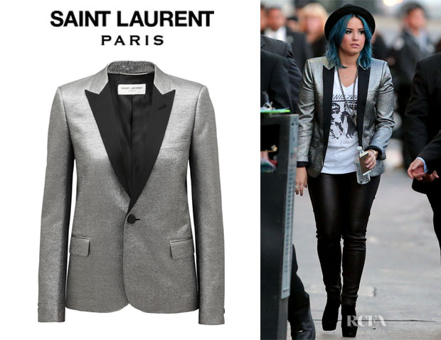 Demi Lovato's Saint Laurent Metallic Jacquard Tuxedo Jacket