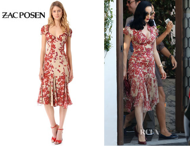 Dita Von Teese's Zac Posen Short Sleeve Print Dress