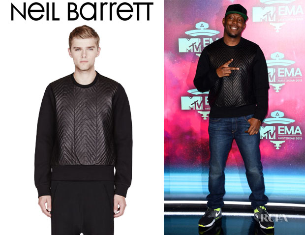 Dizzee Rascal's Neil Barrett Leather Chavron Sweatshirt