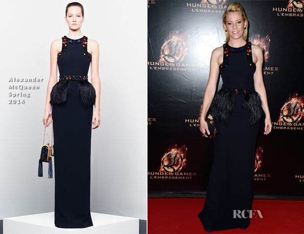Elizabeth Banks In Alexander McQueen – 'The Hunger Games Catching Fire' Paris Premiere
