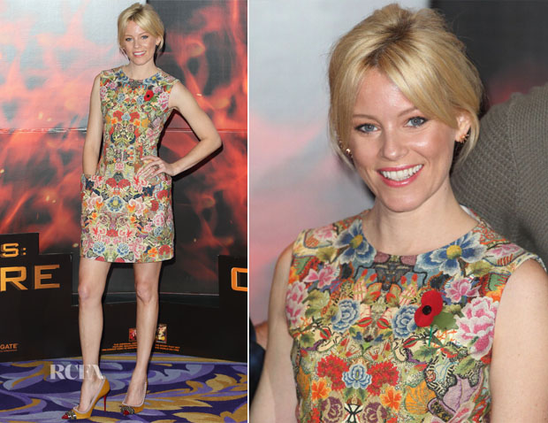 Elizabeth Banks In Alexander McQueen - 'The Hunger Games Catching Fire' London Photocall