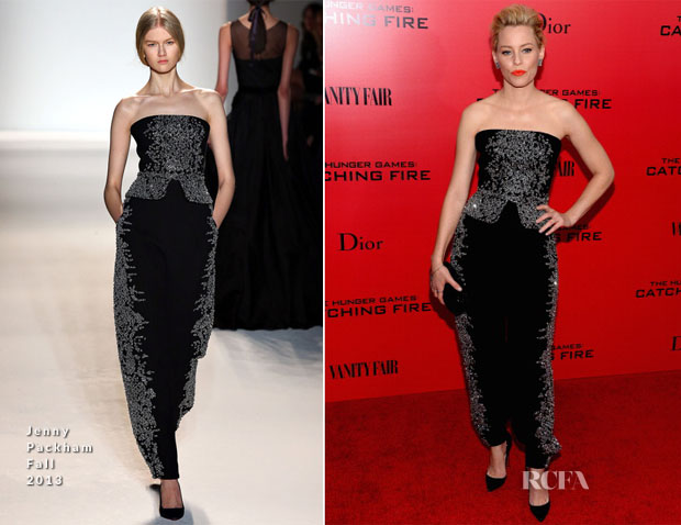 Elizabeth Banks In Jenny Packham - 'The Hunger Games Catching Fire' New York Premiere