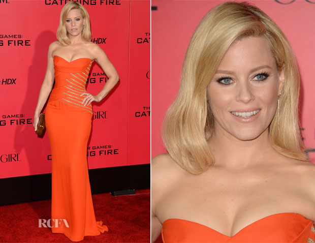 Elizabeth Banks In Versace - 'The Hunger Games Cathching Fire' LA Premiere