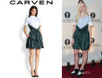 Elle Fanning's Carven Cotton Shirt And Silk Skirt Combo Dress