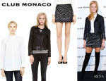 Erin Heatherton's Club Monaco 'Gabriella' Shirt, Club Monaco 'Rory' Moto Jacket And Club Monaco 'Kaitlin' Embellished Skirt