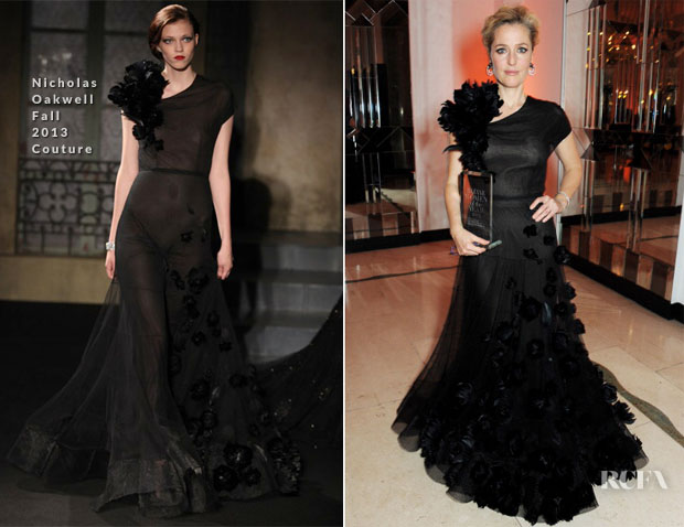 Gillian Anderson In Nicholas Oakwell - Harper's Bazaar Woman Of The Year Awards 2013