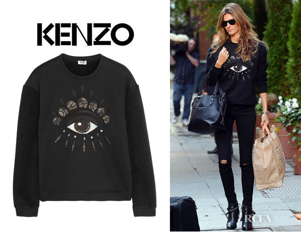 Gisele Bundchen's Kenzo Eye-Embellished Fleece Sweatshirt1