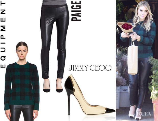 Hilary Duff's Equipment 'Shane' Plaid Sweater, Paige 'Paloma' Faux Leather-Paneled Leggings And Jimmy Choo 'Lumina' Leather Pumps