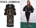 Iman's Dolce & Gabbana Ruched Lace And Tulle Dress