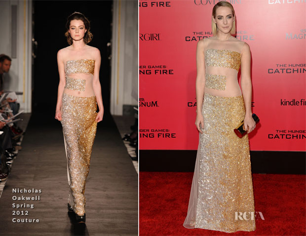 Jena Malone In Nicholas Oakwell Couture - 'The Hunger Games Cathching Fire' LA Premiere