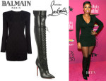 Jennifer Hudson's Balmain V-Neck Long-Sleeve Dress And Christian Louboutin 'Mado' Lace-Up Over-The-Knee Boots