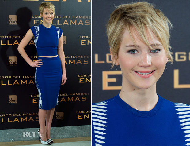 Jennifer Lawrence In Alexander McQueen - 'The Hunger Games Catching Fire' Madrid Photocall