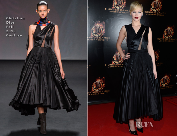 Jennifer Lawrence In Christian Dior Couture - 'The Hunger Games Catching Fire' Paris Premiere