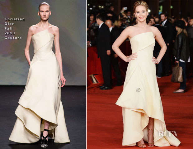 Jennifer Lawrence In Christian Dior Couture - 'The Hunger Games Catching Fire' Rome Film Festival Premiere
