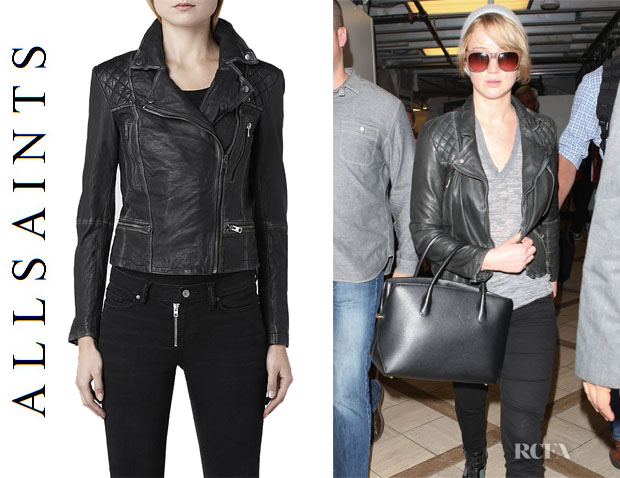Jennifer Lawrence's All Saints Cargo Leather Biker Jacket