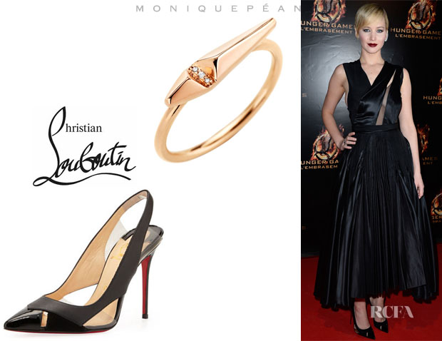 Jennifer Lawrence's Monique Péan Diamond Ascent Stacking Ring And Christian Louboutin 'Air Chance' Sling Back Pumps