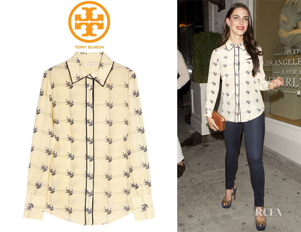 Jessica Lowndes' Tory Burch 'Harriet' Sparrow-Print Shirt