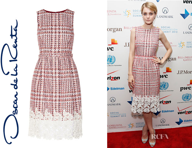 Jessica Stam's Oscar de la Renta 'Guipure' Lace-Trimmed Tweed Dress