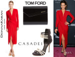 Kate Beckinsale's Donna Karan Long Sleeve Dress, Casadei Bi-Colour Sandals And Jimmy Choo 'Candy' Clutch