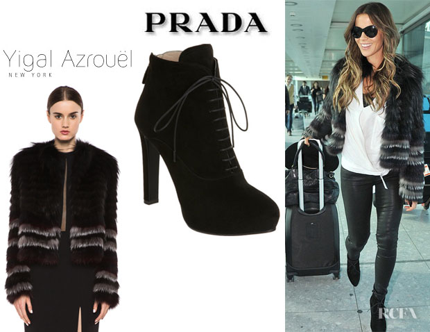 Kate Beckinsale's Yigal Azrouel 'Silver Fox' Fur Coat And Prada Suede Lace Up Boots