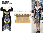 Kate Waterhouse's Peter Pilotto 'Vera' Marble Print Dress And Charlotte Olympia 'Box Office Pandora' clutch