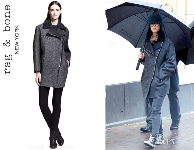 Katy Perry's Rag & Bone 'Turner' Leather-Trim Coat
