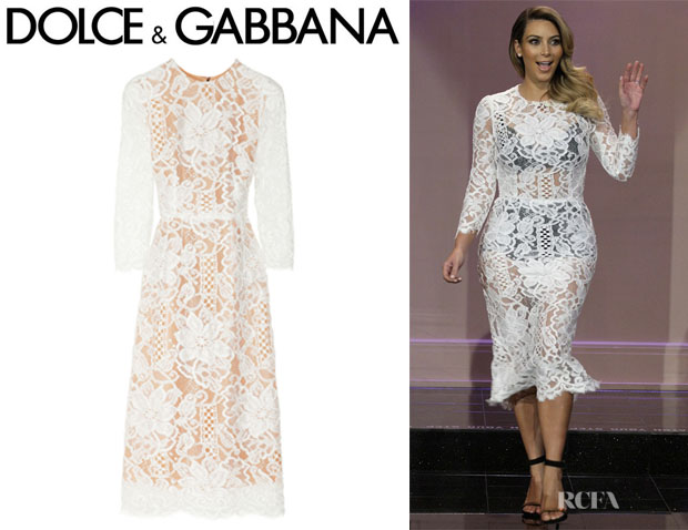 Kim Kardashian's Dolce & Gabbana Lace And Silk-Organza Dress