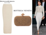 Kim Kardashian's Donna Karan Stretch Cashmere Maxi Skirt And Bottega Veneta 'Intrecciato' Woven Box Clutch