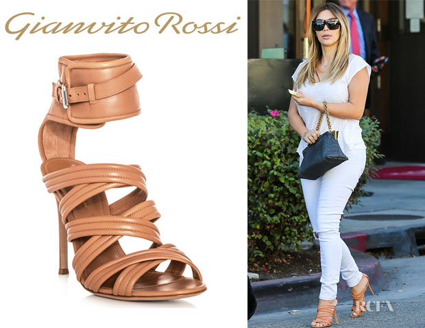 Kim Kardashian's Gianvito Rossi Strappy Leather Ankle Strap Sandals