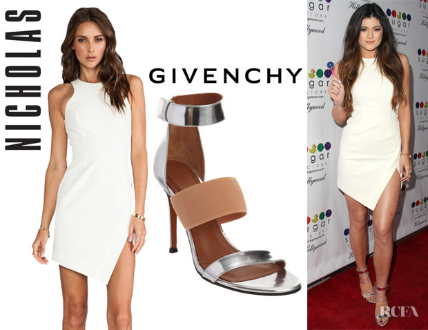 Kylie Jenner's Nicholas Wrap Skirt Dress And Givenchy Banded Metallic Sandals