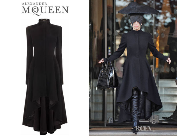 Lady Gaga's Alexander McQueen Wave Ruffle Dress Coat