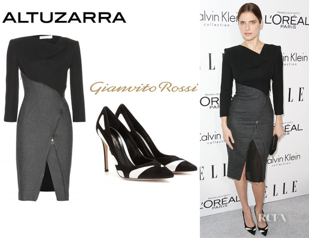 Lake Bell's Altuzarra 'Mulberry' Leather Dress And Gianvito Rossi Pumps