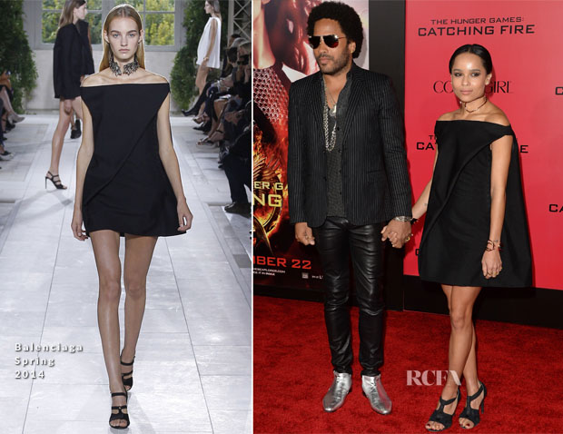 Lenny Kravitz In Saint Laurent & Zoe Kravitz In Balenciaga - 'The Hunger Games Catching Fire' LA Premiere