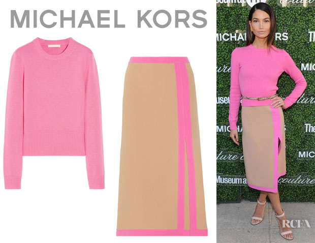 Lily Aldridge's Michael Kors Cashmere Sweater And Michael Kors Stretch-Wool Midi Skirt