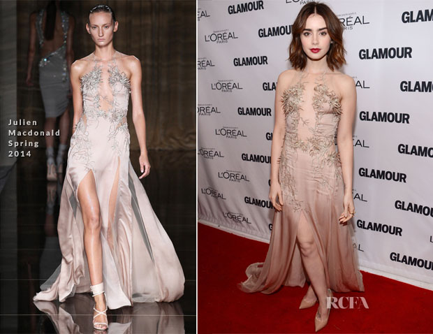 Lily Collins In Julien Macdonald - Glamour Magazine Women Of The Year 2013