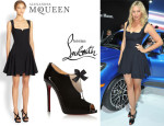 Maria Sharapova's Alexander McQueen Flared Dress And Christian Louboutin 'Estanodo' Ankle boots