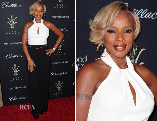 Mary J Blige In Trina Turk - The Grove's 11th Annual Christmas Tree Lighting Spectacular