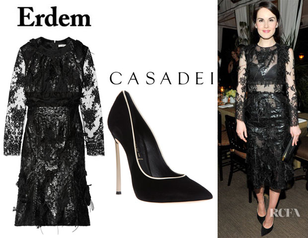 Michelle Dockery's Erdem 'Bobin' Embellished Dress And Casadei Stiletto Pumps