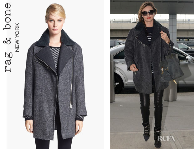 Miranda Kerr's Rag & Bone 'Turner' Shearling And Leather Collar Coat