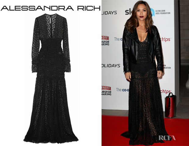 Myleene Klass' Alessandra Rich Ruched Leopard-Lace Gown
