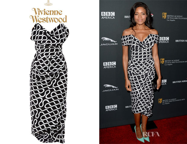 Naomie Harris' Vivienne Westwood Gold Label 'Cocotte' Squiggle-Print Dress