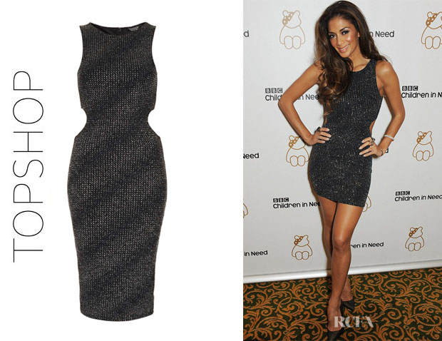 Nicole Scherzinger's Topshop Lurex Cut Out Midi Dress
